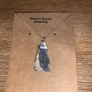 Sterling silver oxidized puffin pendant